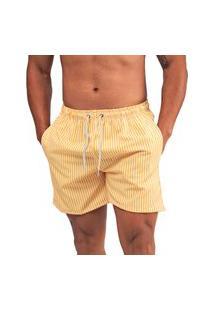 Bermuda Masculina Casual Moda Praia Verão - Amarelo Listrado