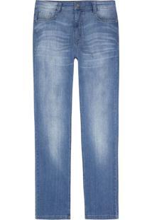 Calça Hering Jeans Regular Com Lavação Estonada Azul