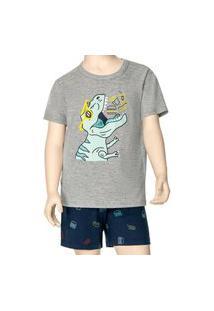 Pijama Infantil Menino Curto Malwee 1000088338 Cinza