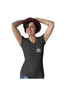 Camiseta Feminina Gola V Ezok King Preto