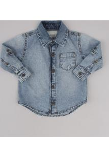 Camisa Jeans Infantil Com Bolso Manga Longa Azul Claro