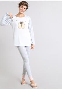 Pijama Feminino Ursinho Manga Longa Branco