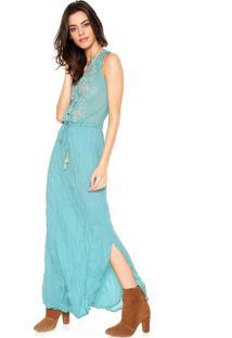 Vestido Cantão Longo Bordado Azul