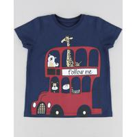 Camiseta Infantil Animais Manga Curta Gola Careca Azul Marinho 251bc838e5e