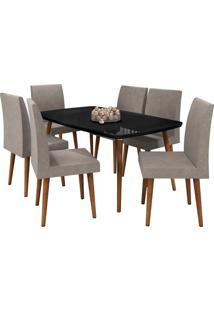 Conjunto De Mesa De Jantar Jade Preto 1,70X0,90 C/ 6 Cadeiras Rv Mã³Veis - Preto - Dafiti