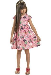 Vestido Infantil Borboleta Rosa