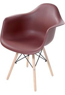 Cadeira Arm Com Braco Marrom Fosco Base Madeira Clara - 51955 - Sun House