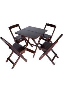 Conjunto 4 Cadeiras E 1 Mesa Dobrável 70 X 70 - Com Pintura Imbuia