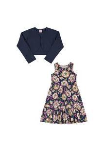 Vestido E Bolero Quimby Em Cotton Floral E Marinho