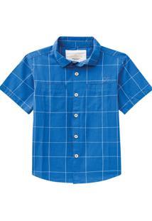 Camisa Quadriculada Manga Curta Milon Azul Cobalto