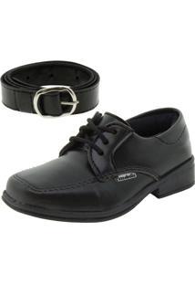 Sapato Infantil Masculino Preto/Cadarço Passobelle - 5010