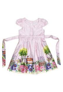 Vestido Infantil Estampa Rosa