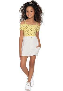 Conjunto Blusa E Short Amarelo