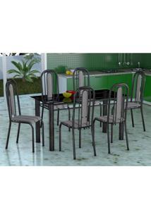 Conjunto De Mesa Com 6 Cadeiras Granada Preto Listrado Vd
