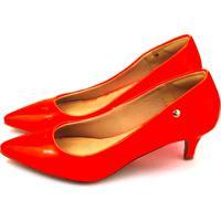 9d021504e3 Dafiti. Scarpin Salto Baixo Love Shoes Bico Fino Verniz Neon Laranja