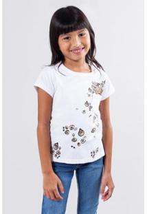 Camiseta Bolsinho Onça Reserva Mini Feminina - Feminino-Branco