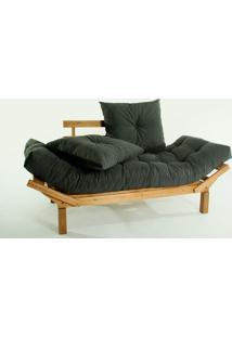 Sofá Cama Madeira Futon Country Comfort Acab. Stain Jatobá Com Almofada/Colchao Tecido Cinza 34 - 190X80X83 Cm