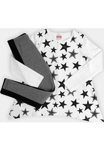 Conjunto Infantil Marlan Estrelas Feminino - Feminino-Branco+Preto