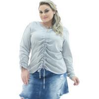 2c10c243ae Blusa Confidencial Extra Jeans London Manga Longa Plus Size Feminina -  Feminino-Cinza