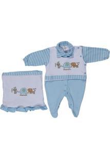 Enxoval Infantil Para Bebê Menino - Branco/Azul