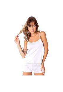 Baby Doll Conforto Short E Camiseta Linha Noite Lingerie Branco