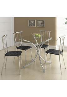 Mesa 375 Vidro Incolor Cromada Com 4 Cadeiras 154 Fantasia Preto Carraro