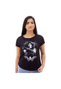 Camiseta Mulher Maravilha Feminina Sideway Preta