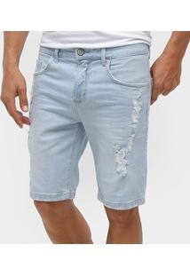Bermuda Jeans Slim Forum Paul Delavê Rasgos Masculina - Masculino-Azul