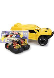 Sandália Infantil Grendene Kids Hot Wheels Monster Truck Babuche Com Carrinho - Masculino