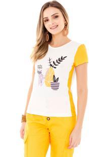 T-Shirt Amora Café Com Estampa Amarelo