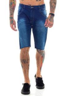 Bermuda Rich Jeans Básica Masculina - Masculino-Azul Escuro