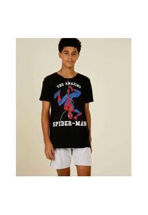 Pijama Juvenil Manga Curta Homem Aranha Marvel Tam 12 A 16