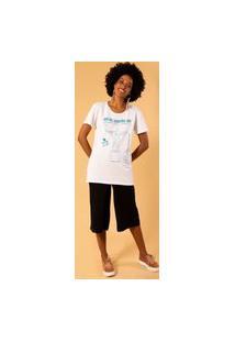 T-Shirt Alongada Estampa Rio De Janeiro M Incolor
