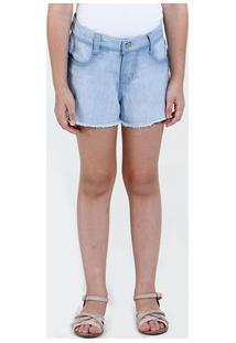 Short Infantil Jeans Glitter Desfiado Marisa