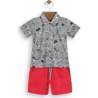 Conjunto Camisa Polo E Bermuda Cinza Up Baby 038e62fdbf4de