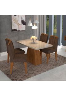 Conjunto De Mesa De Jantar Retangular Helen Com 4 Cadeiras Elisa Suede Cacau E Off White