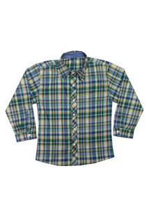 Camisa Juvenil Look Jeans Manga Longa Xadrez Verde