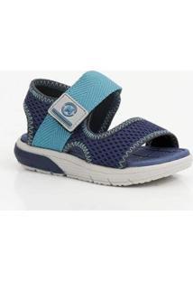 Sandália Infantil Velcro Molekinho Masculina - Masculino-Azul