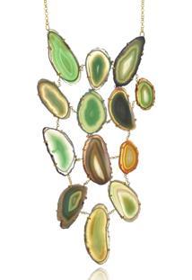 Colar Le Diamond Chapa De Ágata Maxi Verde - Kanui