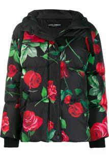 Dolce & Gabbana Jaqueta Floral Com Capuz - Preto