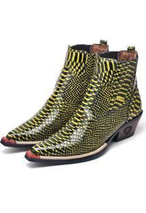 Bota Botina Texana Em Couro Doc Shoes Amarelo