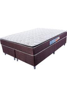 Cama Box Com Colchão Queen Classic Com Espuma D40 (66X158X198) Marrom E Bege