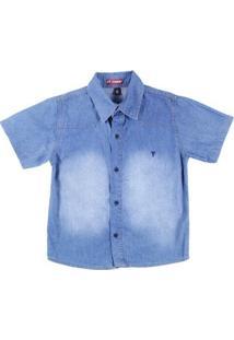 Camisa Manga Curta Juvenil Para Menino - Azul