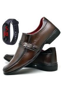 Sapato Social Fashion Com Relógio Led Fine Dubuy 827El Marrom