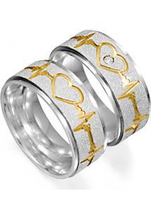 Aliança Namoro De Prata Com Friso De Batimentos Cardiacos E Coração Banhado A Ouro - As1531 + As1532