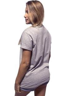 Camiseta Joss Mescla Premium Buda Sentado Feminina - Feminino-Cinza