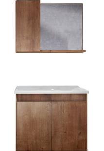 Gabinete De Banheiro Com Espelheira Madri 57X34Cm Wengue Gaam