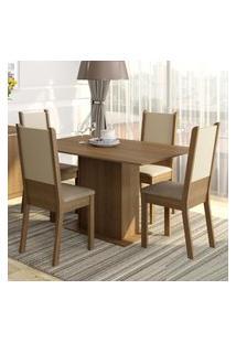 Conjunto Sala De Jantar Madesa Rita Mesa Tampo De Madeira Com 4 Cadeiras Marrom