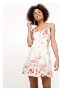 Vestido Curto Floral Com Botões Frontais