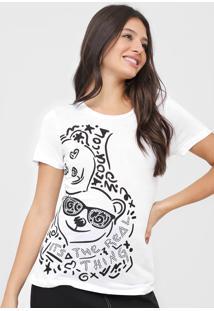Camiseta Coca-Cola Jeans Aplicaã§Ãµes Branca - Branco - Feminino - Viscose - Dafiti